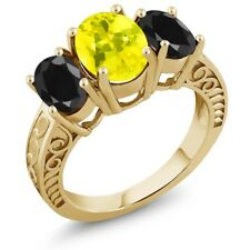 3.94 Ct Canary Mystic Topaz Black Sapphire 18K Yellow Gold Plated Silver Ring