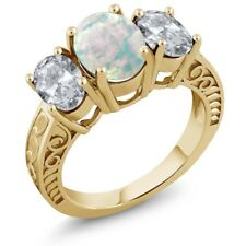 2.50 Ct Oval White Simulated Opal White Topaz 18K Yellow Gold Plated Silver Ring