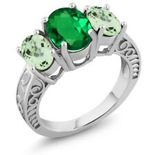 3.00 Ct Oval Green Simulated Emerald Green Amethyst 925 Sterling Silver Ring