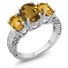 2.80 Ct Oval Whiskey Quartz Yellow Citrine 925 Sterling Silver Ring