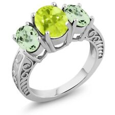 3.15 Ct Oval Yellow Lemon Quartz Green Amethyst 925 Sterling Silver Ring