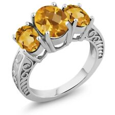 2.50 Ct Oval Checkerboard Yellow Citrine 925 Sterling Silver Ring