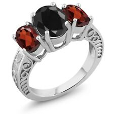 4.34 Ct Oval Black Sapphire Red Garnet 925 Sterling Silver Ring