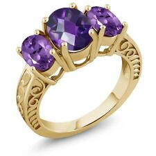 3.00 Ct Oval Checkerboard Purple Amethyst 18K Yellow Gold Plated Silver Ring