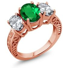 4.50 Ct Oval Green Simulated Emerald 18K Rose Gold Plated Silver Ring