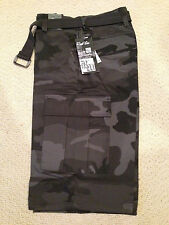 NWT Men's Regal Wear Black Gray Camouflage Camo Belted Cargo Shorts ALL SIZE