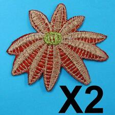 2 Flower Floral Leaf Iron on Sew Patch Cute Applique Badge Embroidered
