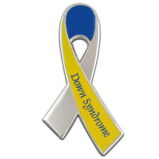 Down Syndrome Awareness Yellow and Blue Ribbon Lapel Pin