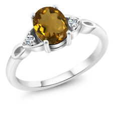 1.08 Ct Oval Whiskey Quartz White Topaz 925 Sterling Silver Ring