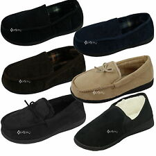 Mens Moccasin Corduroy Memory Foam Slippers Shoe Sizes 6-11 Dad Father Gift