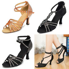 Stock Women Ladies Satin Rhinestone Latin Ballroom Salsa Custom-made Dance Shoes