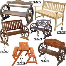 WOODEN GARDEN BENCH SEAT BURNT WOOD OUTDOOR PARK PATIO 2 3 SEATER BENCHES *NEW*
