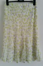 NEW M&S 12-24 Lime Green White Chiffon Floral Print Summer Holiday A-Line Skirt