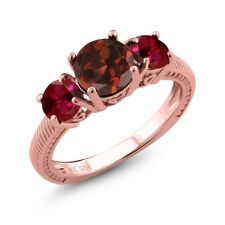 2.50 Ct Round Red Garnet Red Created Ruby 18K Rose Gold Plated Silver Ring