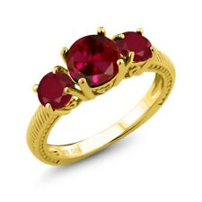 2.65 Ct Round Red Created Ruby Red Ruby 18K Yellow Gold Plated Silver Ring