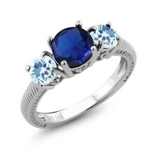 2.67 Ct Round Blue Simulated Sapphire Sky Blue Topaz 925 Sterling Silver Ring