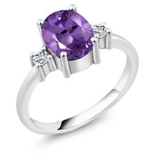 1.82 Ct Oval Purple Amethyst White Topaz 925 Sterling Silver Ring