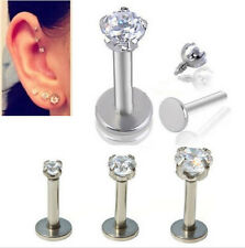 Nose Lip Helix Stud Tragus Crystal Cartilage Earring Stainless Steel Piercing