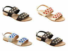 WOMENS GLITTER DIAMANTE PARTY SUMMER HOLIDAY FLAT SANDALS LADIES UK SIZE 3-8