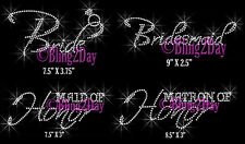 Bridal Wedding Party Iron On Rhinestone Transfer for Shirts Hot Fix Bling Bride
