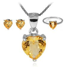 Heart Genuine Gemstone Set Pendant Necklace Earrings Ring 925 Silver 4-6ct