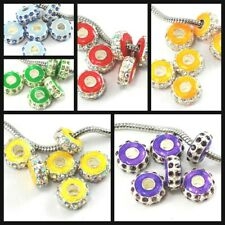 Big Hole Crystal Rhinestone Rondelle Spacer Beads Fit European Pick your color