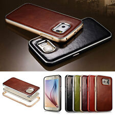 Xoomz Genuine Vintage Leather & Aluminium Bumper Frame Case Cover for Galaxy S6