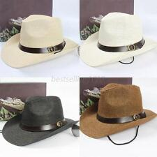 Men Women Straw Wide Brim Sun Hat Fedora Cowboy Cap Trilby Summer Beach Belt Hat