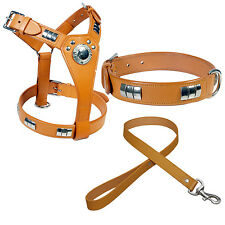 STAFF DOG SHIELD HARNESS+ COLLAR+LEATHER LEAD SET FITTED WITH CHROME IN 7 COLORS