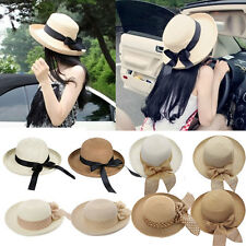 Summer Fashion Women's Trilby Fedora Straw Panama Wide Brim Beach Cap Sun Hat