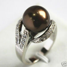 12mm Coffee South Sea Shell Pearl Gemstone Jewelry Ring Size 6/7/8/9 AAA Grade