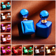 New Celebrity Runway Double Pearl Crystal Cube Beads Earrings Ear Studs Pin