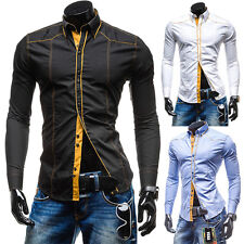 Mens Luxury Casual Shirts Long Sleeve Slim Fit Stylish Dress Shirts Tops