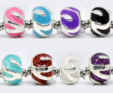 10 Silver Plated Enamel Spacer Beads Fit Charm Bracelet 12x8mm M0234