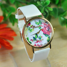 HOT Fashion Rose Flower Watch Women White Leather Band Watch Quartz Watches Gift