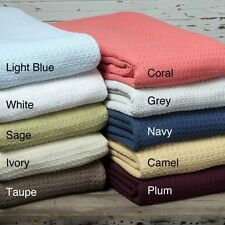 Cotton Blanket 100% King Queen Full Twin Size Throw Soft Woven Lightweight Comfy