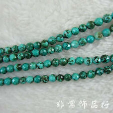 """Faceted Round Green Turquoise Beads Loose Gemstone Beads for Jewelry Making 15"""""""