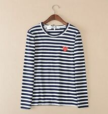 STRIPED MEN WOMEN COMME DES GARCONS CDG PLAY RED HEART LONG SLEEVE T-SHIRT TEE 1