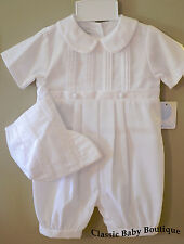 NWT Petit Ami White Romper SS 12 18 24 Months Baby Boys Christening Baptism Hat