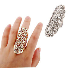 Fashion Charm Rhinestone Ring Full Finger Armor Joint Knuckle Hollow Out Ring