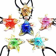 Fashion Charms Murano Lampwork glass fireworks flower Inside Pendant necklace