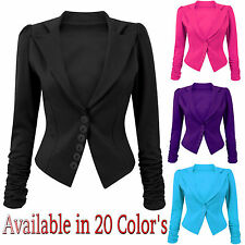 Womens Ladies Ruched Long Sleeves Front Button Panel Slim Fit Blazer Jacket Top