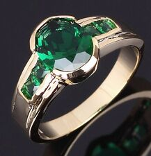 Classic Size 8,9,10,11 Mens Jewelry Fashion Emerald 10K Gold Filled Wedding Ring