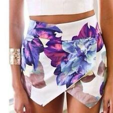 Fashion Women Asymmetrical Floral Tiered Culottes Skorts Shorts Wrap Mini Skirts