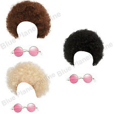 LADIES HIPPIE HIPPY AFRO CURLY WIG & SUNGLASSES 1970S FANCY DRESS COSTUME