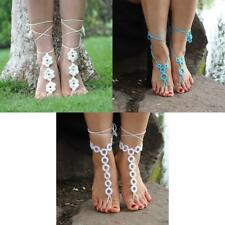 Barefoot Sandals Crochet Cotton Foot Jewelry Anklet Ankle Bracelet Chain Wedding