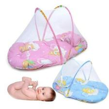 Foldable Baby Crib Tent Bed w/ Mosquito Net & Cotton-padded & Mattress & Pillow