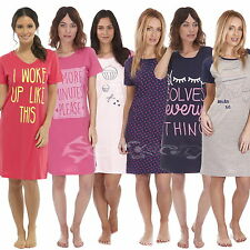 Ladies Short Sleeve Nightdress Cotton Jersey Sizes 8-22 Night Shirt Nightie
