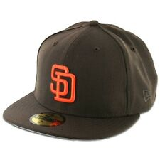 San Diego PADRES BR OR Brown Hat Orange Logo New Era 5950 MLB Fitted Hats Caps