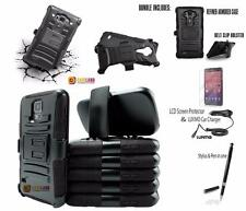 BLACK REFINED HEAVY DUTY ARMOR CASE PHONE HARD COVER & BELT CLIP HOLSTER +BUNDLE
